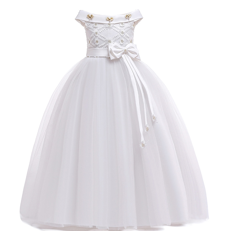 Flower     girl     dresses   for weddings evening party long trailing   dress   with big bow   girls     dress   vestidos primera comunion blancos