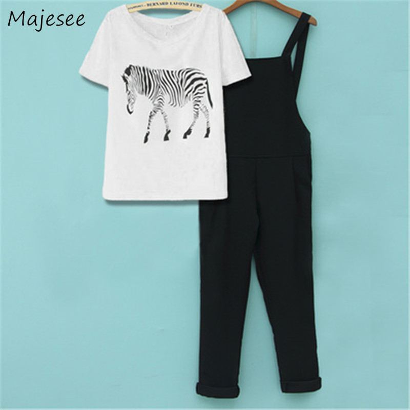Jumpsuits Women With T-shirts Ankle-length Chiffon Breathable Kawaii Student Girls Harajuku Loose Casual Womens Overall Chic