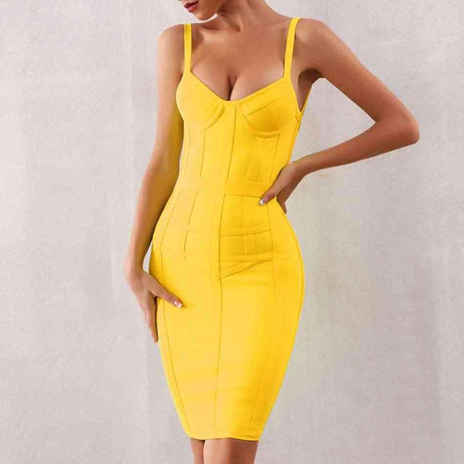 Seamyla 2019 Новое Бандажное Платье женское сексуальное Клубное облегающее платье на бретельках летние Желтые платья знаменитостей Vestidos