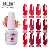 Arte Clavo 8 мл красный цвет Гель-лак для серий долговечная гелевая краска для дизайна ногтей DIY Дизайн Топ Гель-лак блестящее украшение для ногте...