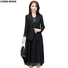 Ladies Polka Dot Midi Dress Suits Korean OL Style Women Blazer and Long Dresses Office Work Elegant Black Two Pieces Set Suit(China)