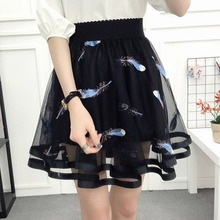 Women 2020 Spring Summer Gauze Lace Skirt Tutu New Hollow Short Skirt Fashion Embroidery Skirts Elascity Feather Casual Skirt
