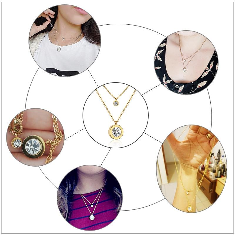 LUXUKISSKIDS Hot 316L Stainless Steel  Gold/Steel Choker Link Chain Necklaces Women/Men Jewelry Zircon Pendants Necklace