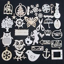 Wholesale free shipping 200 PCS high quality scrapbooking mixed die cutting Angle of wooden Christmas ornaments