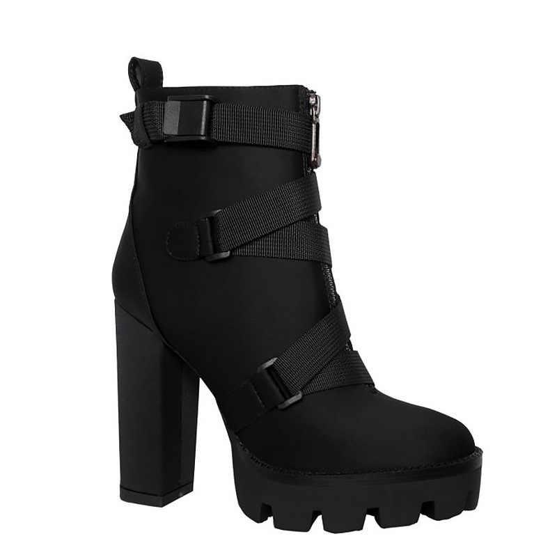Kadın Çizmeler Siyah Seksi Su Geçirmez Platformu Süper Yüksek kısa çizmeler