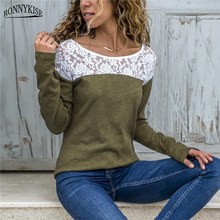 RONNYKISE Sexy Lace Stitching T-Shirts Womens Fashion Tees Long Sleeve O-neck Casual Spring Autumn Tops Women Clothes S-XXXL