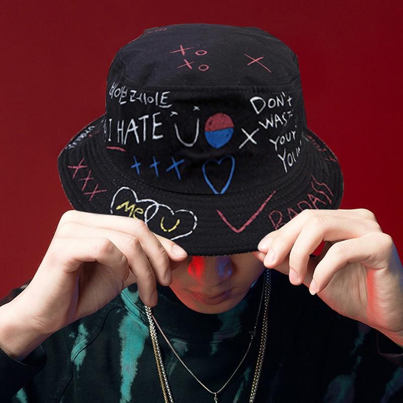 Unisex Harajuku Cappello Della Benna Graffiti Lettera Delle Donne Degli Uomini di Pesca Pescatore Cappello di Estate All'aperto Panama Cap Hip Hop 1