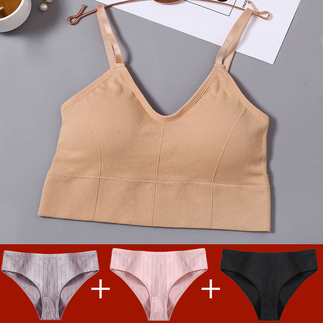 Tank Crop Top Bra + 3PCS Panties Set Fashion Solid Color Bra Set for Women Intimates Underwear Female Lingerie Casual Bralette 5