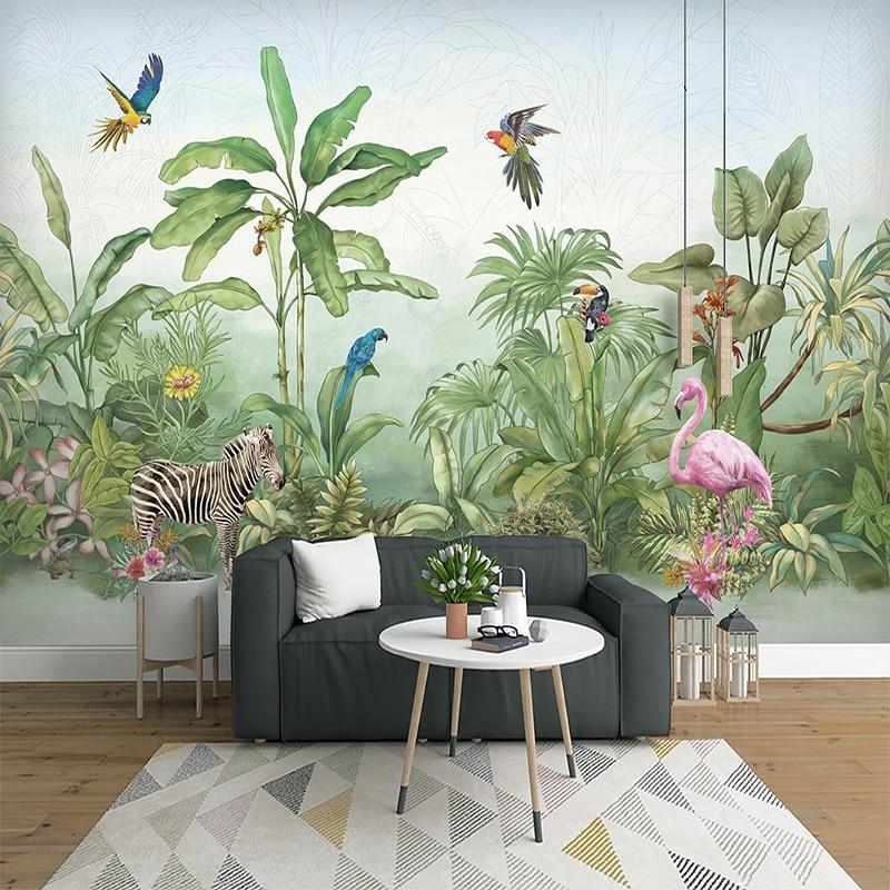 Custom Photo Wall Tropical Rainforest Plant Flower Bird Animal Forest Large Mural Non-woven Wallpaper For Living Room Bedroom 3D
