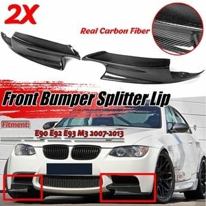 Pair Real Carbon Fiber Front Bumper Splitter Lips For-BMW E90 E92 E93 M3 2007-2013