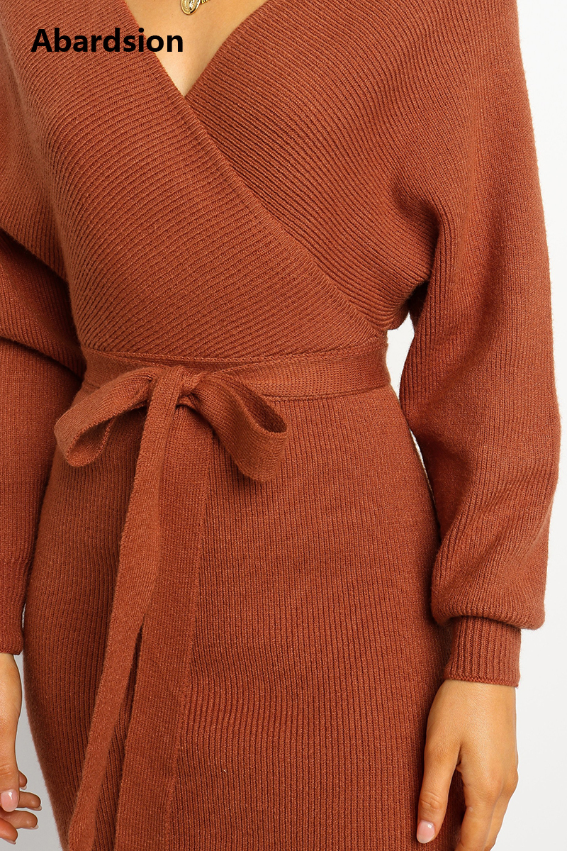 Abardsion Women Knitted Sweater Dress Wrap Belted Tunic Midi Vestidos Long Sleeve Double V Neck Split Casual Autumn Dresses 19 9