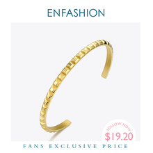 ENFASHION Pyramid Cuff Bracelet Gold Color Stainless Steel Punk Spike Bracelets Bangles For Women Jewelry Pulseira BF192008
