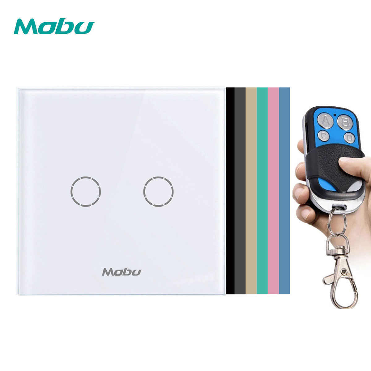 Mobu 2Gang 1 Arah Remote Control Switch eu/UK Standard Wall Light Switch untuk Remote Touch Switch