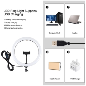 Image 2 - 1,65 m Stativ Montieren Dual Telefon Halterung 11,8 zoll 30cm USB 3 Modi LED Ring Vlogging Video Licht Live broadcast Kits