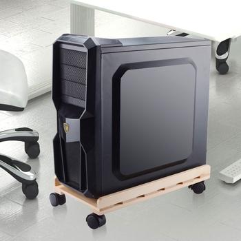 Przykładowy projekt z motywem drewna komputer główny procesor obudowa uchwyt chłodzący z kołem i hamulcem biuro do użytku domowego PC Host Storage Trolley tanie i dobre opinie HFSECURITY CN (pochodzenie) PC case holder 000703
