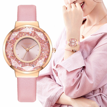 YOLAKO Brand Women Leather Moving Diamond Watch Luxury Ladies Quartz Rhinestone Watches Clock Reloj Mujer Relogio Feminino