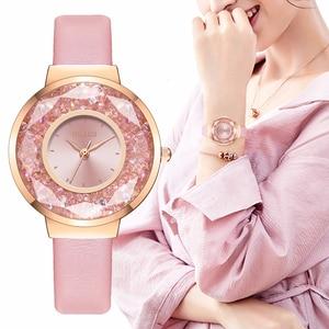 Image 1 - YOLAKO Brand Women Leather Moving Diamond Watch Luxury Ladies Quartz Rhinestone Watches Clock Reloj Mujer Relogio Feminino