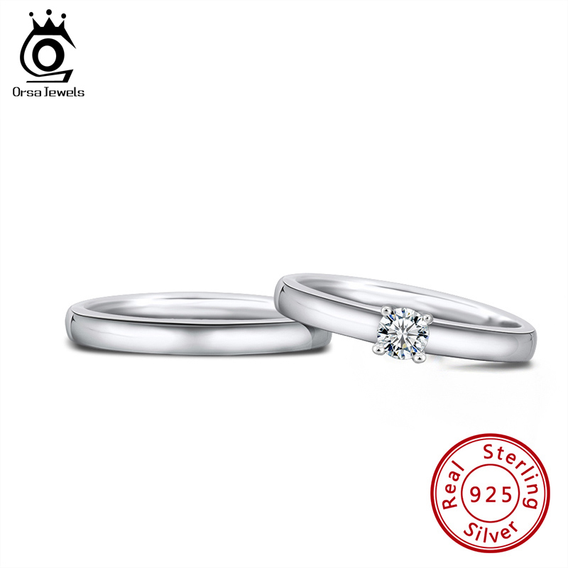 ORSA JEWELS Classic Couple Rings 100% Real 925 Sterling Silver  Valentine's Day Gift Engage Marriage Ring Fashion Jewels SR196