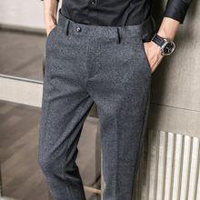Осенние и зимние мужские маленькие брюки с начесом в елочку