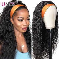 Unice-100% de cabello humano ondulado para mujer, peluca y bufanda con agarre, sin necesidad de coser