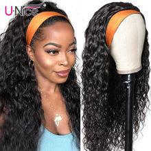 Unice hair 100% capelli umani Grip fascia sciarpa parrucca onda d'acqua parrucca per capelli umani senza spennare parrucche per le donne senza colla No cucire