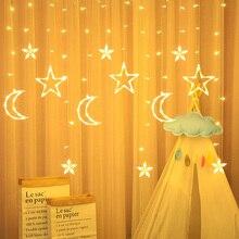 LED icicle Star Moon Lamp Fairy Curtain String Lights Christmas Garland For Wedding Garden Window Decor AA Battery/220v EU Plug