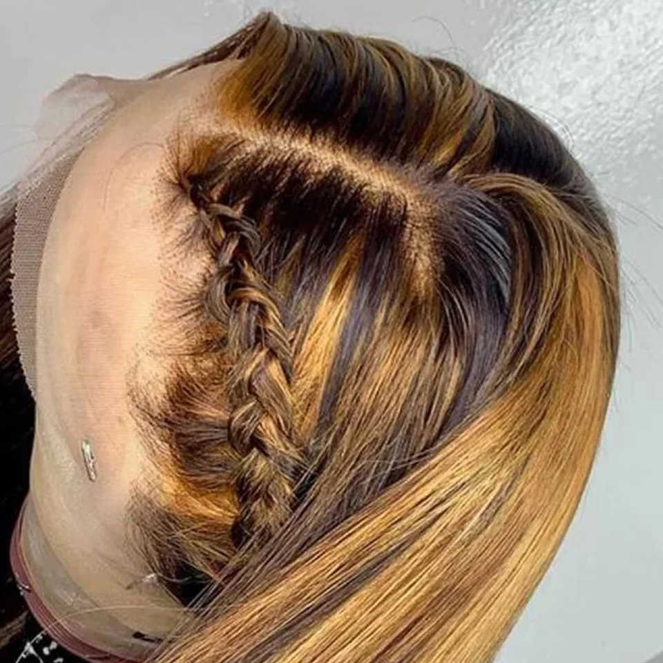 150 Honey Blonde Lace Front Human Hair Wigs For Women Straight Brazilian Remy Hair Mix Ombre Highlight Colored Human Hair Wig