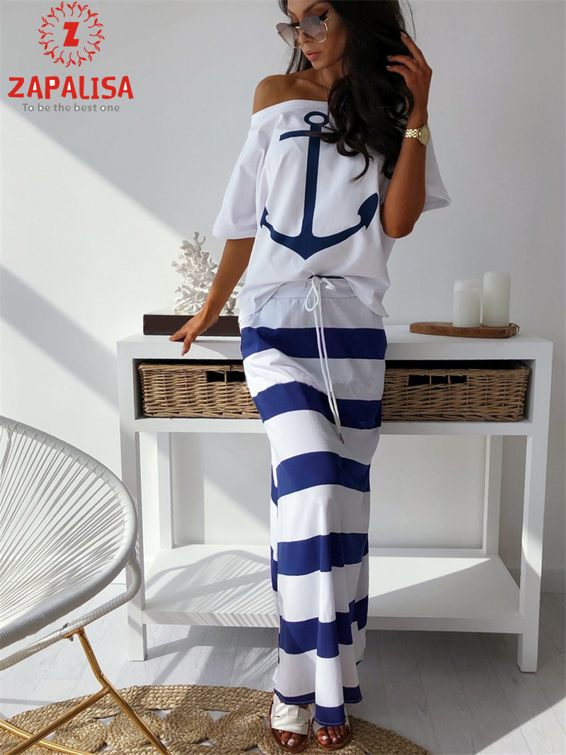 Zapalisa Blue White Striped Navy Wind Summer Long Skirt Fashion Pocket Decor High Elastic High Waist Bandage Straight Skirt