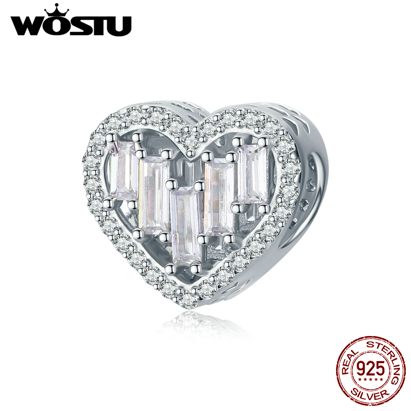 Wostu Bright Heart S925 Sterling Silver Pendant Fit Charm Bead Authentic Jewelry
