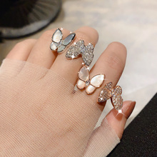 New Butterfly Resizable Finger Rings Fashion Accessories Ring Fashion Jewelry Crystal Lovers Women Gifts 2 Color newest viennois fashion jewelry gun color geometric finger rings for woman rhinestone and crystal party accessories