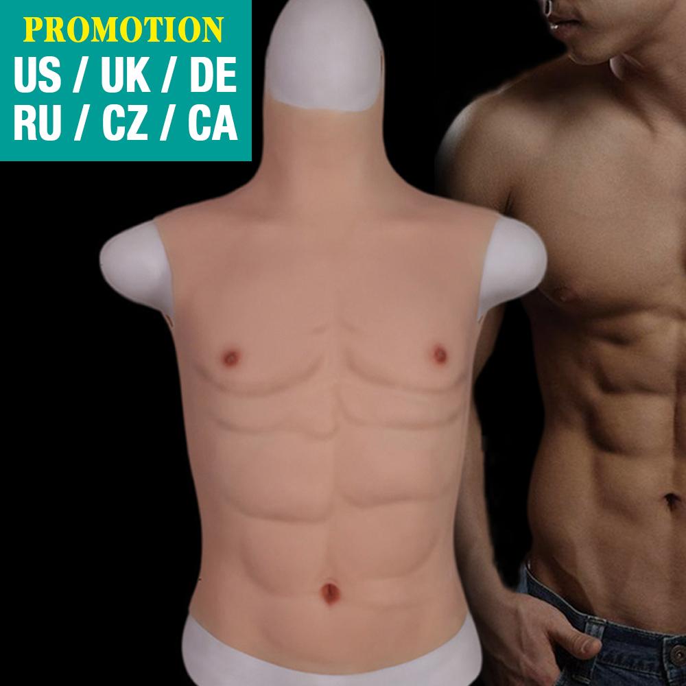 Silicone  Fake Chest Muscle Belly Macho Soft Silicone Man Artificial Simulation Muscles High Collar Version Cosplay crossdress