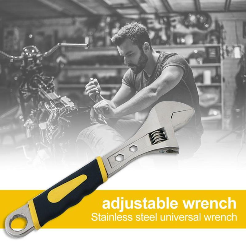 Large Opening Adjustable Spanner Universal Snap Grip Wrench Repair Hand Tool Clamp Body Equipp With Matching Hexagons