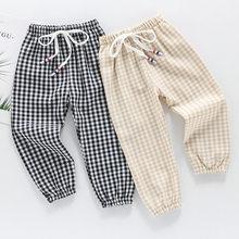 Verão quente crianças algodão verificar mosquito calças crianças roupas todos os jogo calças moda bebê meninos meninas roupas novas calças menino