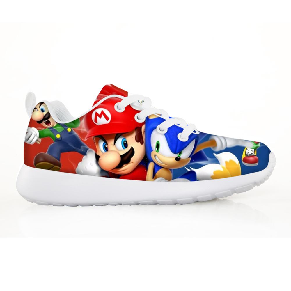 2020 Fashion Children's Sonic Shoes Baby Kids Sneakers For Children Boys Girl Kids Mario Sonic Casual Flats Breath Lace-up Shoes