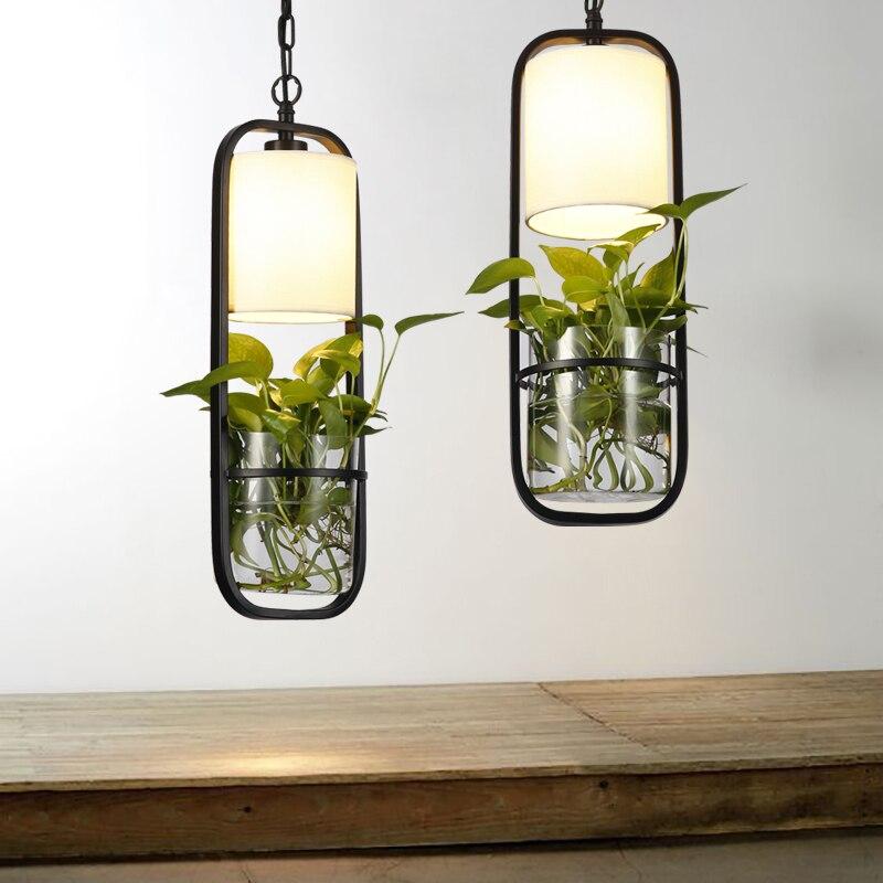Modern Black Cage Plant Pendant Lights Iron Minimalist Retro Danish Design Loft Pyramid Lamp Metal E14 Indoor Hanging Lamp