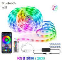 Wifi LED luces de tira RGB SMD 5050 12V cinta Flexible impermeable suave luz LED 5M 10M cinta de DC para Navidad dormitorio TV