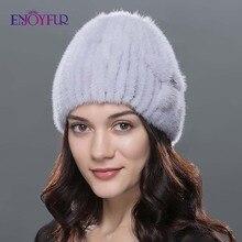 ผู้หญิง ENJOYFUR ขนสัตว์ฤดูหนาวหมวกขนสัตว์ Mink จริงหมวกแฟชั่นหนาหนาถักขนสัตว์ beanies หญิงคุณภาพดีหมวกขนสัตว์