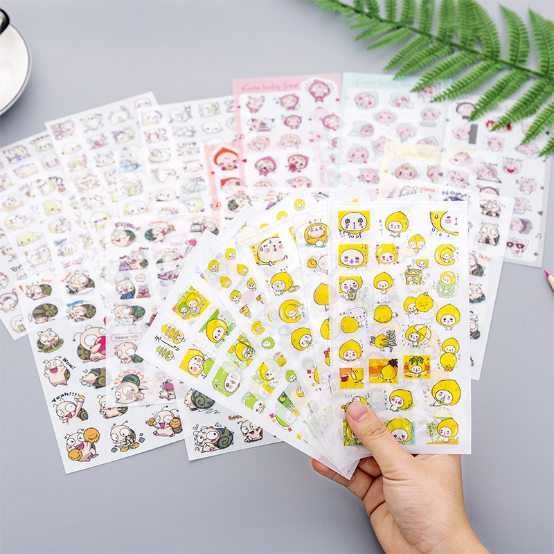 Mohamm 6 Sheets/lot Flat Sticker Cute Cartoon Animal Creative Decoration Kawaii Stickers Stationery