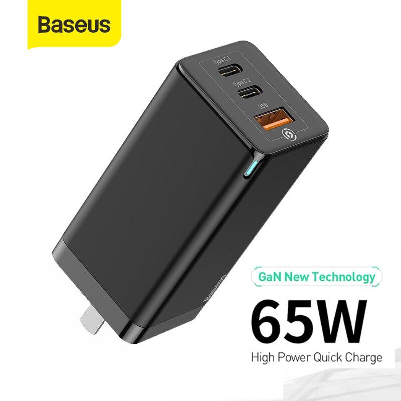 Baseus 65W GaN USB tipo C cargador rápido PD cargador de pared 3 puertos de carga rápida para iPhone para Huawei cargador USB portátil de viaje Base de carga inalámbrica Baseus 15W Qi soporte de carga rápida para teléfono almohadilla de carga inalámbrica multifuncional para iPhone 11 Pro Samsung