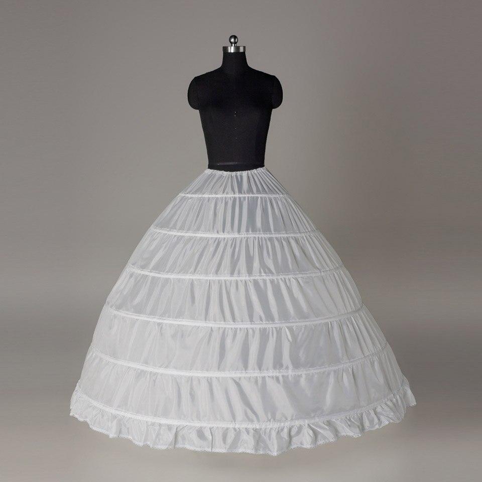 Dressv Cheap Wedding Petticoat Jupon Long Crinoline Slip Underskirt For Ball Gown 6 Layers Loops Wedding Petticoats
