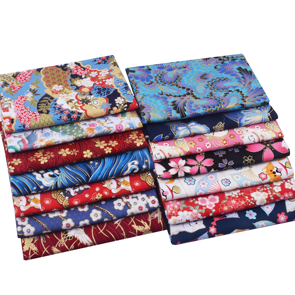Japanese Fabric Cherry Blossom Bronzing Cotton Fabric For Sewing Kimono Cheongsam,DIY Personalized Bag,Jewelry,Patchwork Cloth