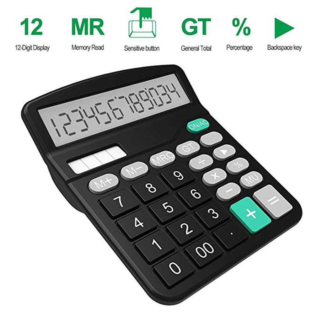 Office Finance Calculator Calculat Plastic Solar Computer Business Finance Office Calculator 12-Bit Desktop Calculator Office