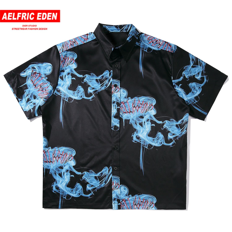 Aelfric Eden Hawaii Blue Smoke Print Beach Shirt Men Harajuku Fashion Streetwear Tops 2020 Casual Cotton Loose Male Short Sleeve