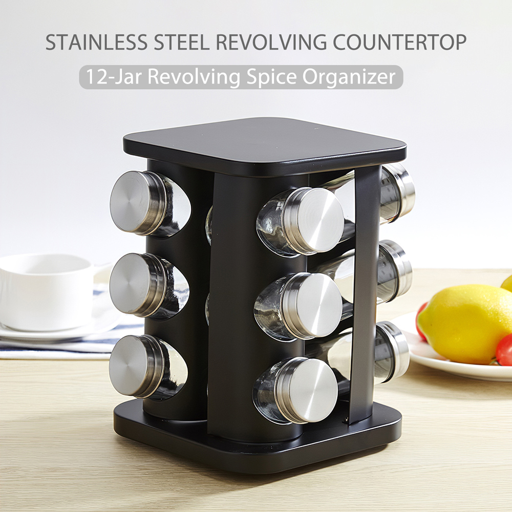 SODIAL Revolving Countertop Herb and Spice Rack with 6 Glass Seasoning Airtight Jar Container Bottles with Stainless Steel Lids with Rotating Base