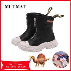 Image 1 - Chaussures pour enfants 2020 printemps nouveaux garçons filles en cuir véritable Martin bottes Anti coup fond souple portable bottes taille 26 à 37