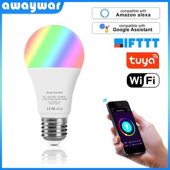 Awaywar Tuya Wifi ampoule Led intelligente lampe 6500K + RGB E27 variateur de teinte de lumière fonctionne avec Alexa Google Home Mini IFTTT kit de vie de maison intelligente