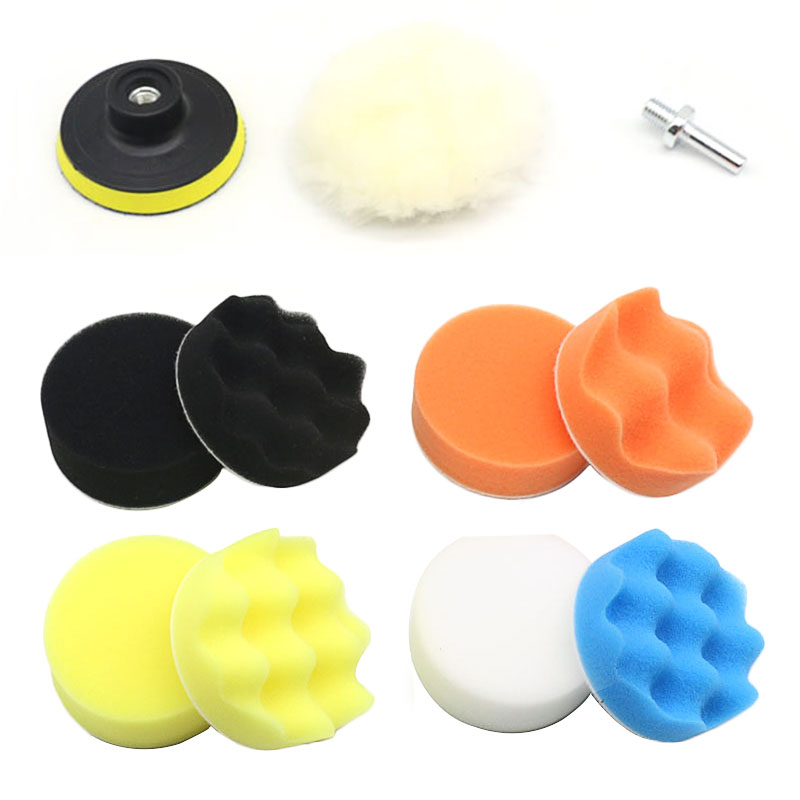 11Pcs/Set 3inch/80mm Buffing Pad Polishing Pad Kit For Car Polisher Thread Abrasive Tools