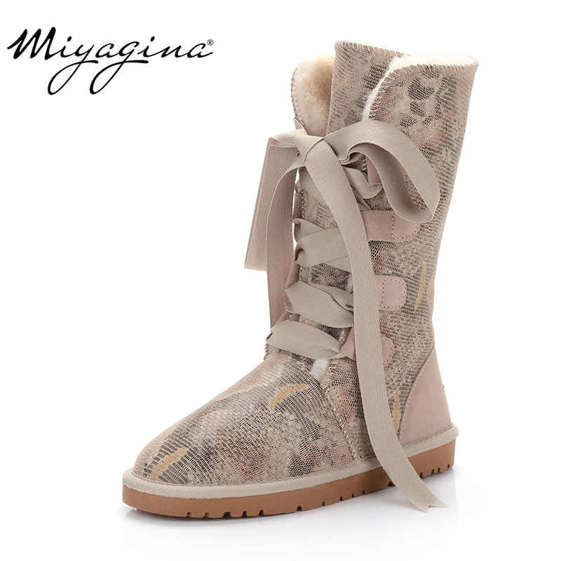 MIYAGINA 2019 new fashion 100% genuine cowhide leather snow boots australia classic women high boots warm winter shoes for women