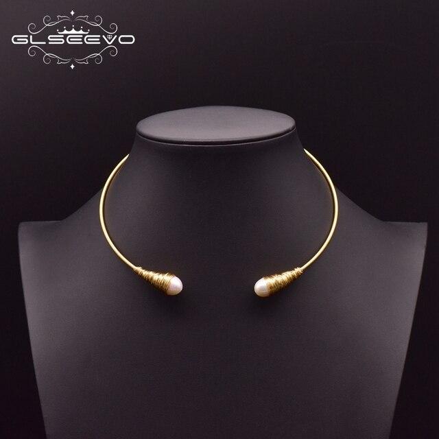 Glseevo natural água doce barroco pérola gargantilhas colar para mulheres colares de luxo colar de jóias finas hombre colar gn0048