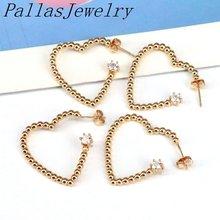 5 пар серьги гвоздики золотого цвета с сердцем модные в богемном